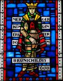 Stained Glass in Worms - Queen Brunichildis. Stained Glass in Wormser Dom in Worms, Germany, depicting the Frankish Queen Brunichildis of Austrasia, who lived in Royalty Free Stock Image