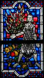 Stained Glass in Worms - Seveso Disaster. Stained Glass in Wormser Dom in Worms, Germany, depicting the Seveso disaster, an industrial accident that occurred in Royalty Free Stock Image