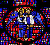 Stained Glass in Worms - Two Angels. Stained Glass in Wormser Dom in Worms, Germany, depicting two Angels stock image