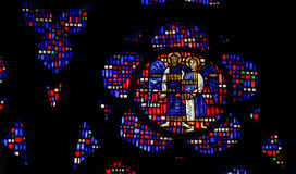 Stained Glass in Worms - Two Angels. Stained Glass in Wormser Dom in Worms, Germany, depicting two Angels stock images