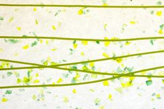 Stained glass yellow green confetti fused Royalty Free Stock Images
