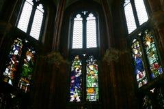 Stained glasses in Basilica Frari in Venice. VENICE, ITALY - OCTOBER 13, 2016: stained glasses in Basilica Santa Maria Gloriosa dei Frari, Venice. Frari is one stock images