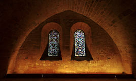 Stained glasses in Fontfroide abbey Royalty Free Stock Image