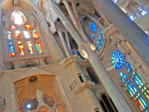 Stained glasses. Stained glases from La Sagrada Familia in Barcelona, Spain Royalty Free Stock Photo