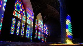 The Pink Mosque in Shiraz Iran royalty free stock photography