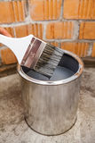 Stained grey color paint brush over can Stock Photos