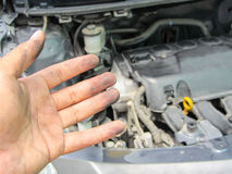 Stained hands because engine repair Royalty Free Stock Images