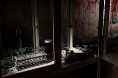 Stained laboratory with test tubes holder in dark room in a Hall Stock Images