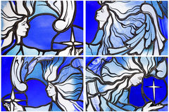 Stained leaded glass angels collage  Royalty Free Stock Photos