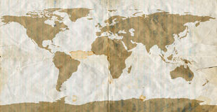 Stained Loose Leaf Paper World map royalty free stock image