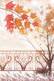 The stained maple wood and park landscape - Graphic painting texture Stock Photography