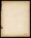 Stained old lined copybook page with margins Royalty Free Stock Images