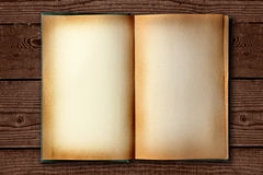 Stained Old Work Book Open on Distessed Background Stock Image