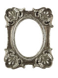 Stained oval silver picture frame w/ clipping path Royalty Free Stock Image
