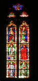 Stained window Pamp1. Satined glass window in Pamplona Cathedral, Spain, Europe royalty free stock image