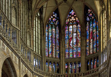 Stained windows in St. Vitus Cathedral. St.Vitus Cathedral windows in Prague stock photography
