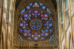 Stained windows in St. Vitus Cathedral Stock Photos