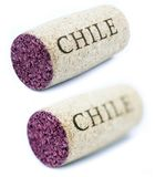 'Chile' Diagonal Wine Cork. A stained wine cork with 'Chile' written on it,  on white background, shot at its horizontal position shot diagonally to the camera Royalty Free Stock Image