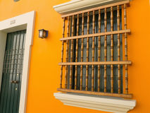 Stained Wood Detailed Window Shutters Stock Image