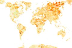 Stained world map. World map on old stained paper Stock Photos