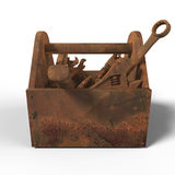 Stained worn-out toolbox with rusty tools, wrench, spanner, hammer, screwdriver. rendering. illustration bad fix, mad Royalty Free Stock Photography