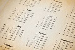 Stained yearly calendar page royalty free stock photography