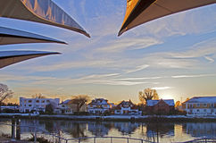 Staines Sunset. Sunset over the River Thames at Staines during winter Royalty Free Stock Image