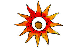 Stainglass sun. Stainglass colorful sun object isolated with rays Stock Images