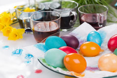 Staining of Easter eggs Royalty Free Stock Photography