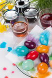 Staining of Easter eggs Stock Photos