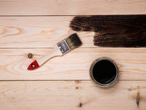 Staining wood stain Royalty Free Stock Image