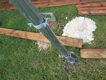 Stainlee steel post and ply wood. New fence building with stainless steel post and ply wood Royalty Free Stock Photos