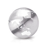 Stainless Asia & Australia world map 3D illustration Royalty Free Stock Photos