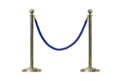 Stainless barricade with rope on white isolated background with. Clipping path royalty free stock images