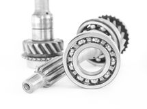 Stainless bearing, shaft and cogwheel Royalty Free Stock Image