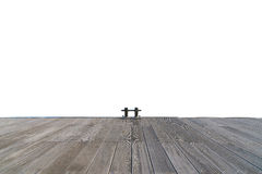 Stainless boat bollard and wooden walkway  on white Royalty Free Stock Images