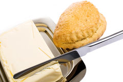 Stainless butter dish on a white background Stock Photos