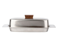 Stainless butterdish. On a white background Stock Image