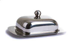 Stainless butterdish on a white background Stock Images
