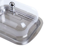 Stainless butterdish on a white background. Series. Stainless butterdish on a white background Royalty Free Stock Photography