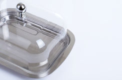 Stainless butterdish on a white background Stock Photo