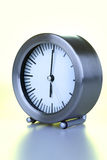 Stainless clock. A stainless steel clock, time is 6:00 Royalty Free Stock Photography