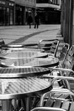 Coffee tables. Stainless coffee tables on pavement Stock Image