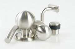 Stainless doorknobs. A set of stainless steel doorknobs Stock Image