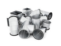 Stainless duct fittings isolated on a white background. 3d rende. Ring Stock Photo
