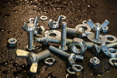 Stainless fasteners in the rain №2 Stock Photography