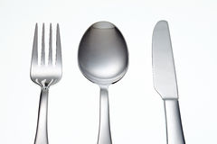 Stainless Fork, Knife and Spoon isolated Royalty Free Stock Photography