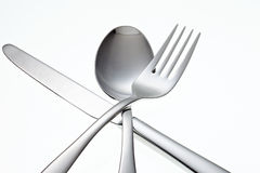 Stainless Fork, Knife and Spoon isolated Royalty Free Stock Photo
