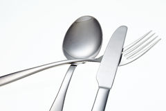Stainless Fork, Knife and Spoon isolated. Stock Image