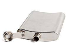 Stainless hip flask Stock Photo
